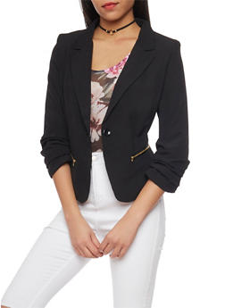 Ruched Long Sleeve One Button Blazer - 1414062704007