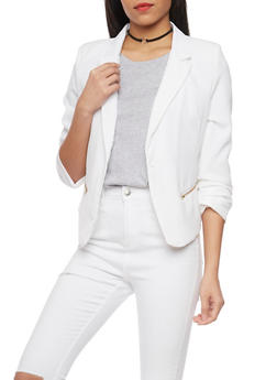Ruched Long Sleeve One Button Blazer - WHITE - 1414062704007