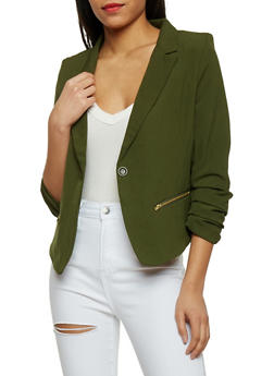 Ruched Long Sleeve One Button Blazer - OLIVE - 1414062704007