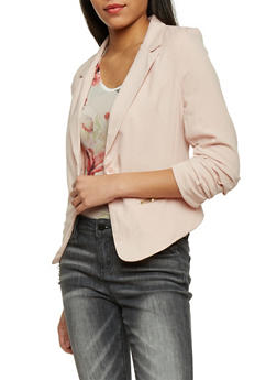 Ruched Long Sleeve One Button Blazer - BLUSH - 1414062704007