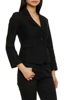 Solid Blazer with Single Button Closure - 1414062704008