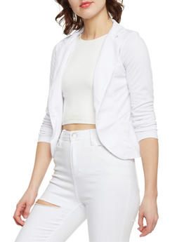 Solid One Button Open Blazer - WHITE - 1414062704014