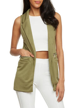 Solid Sleeveless Open Front Vest - OLIVE - 1414062704015