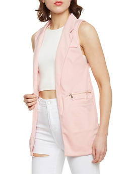 Solid Sleeveless Open Front Vest - 1414062704015
