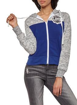 Love Color Block Zip Up Hooded Sweatshirt - 1414062704020