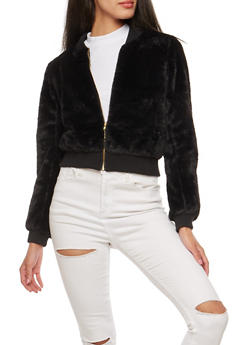 Faux Fur Bomber Jacket - 1414062704024