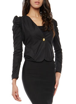 Ruched Sleeve Blazer - BLACK - 1414062704029