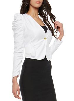 Ruched Sleeve Blazer - 1414062704029