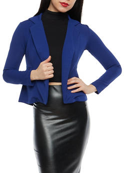 Textured Knit Open Front Blazer - 1414062704031