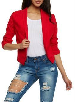 Open Front Blazer with Ruched Sleeves - 1414062705494