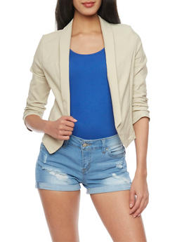 Open Front Blazer with Ruched Sleeves - STONE - 1414062705494