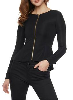 Textured Knit Zip Front Peplum Blazer - 1414062706451