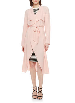 Crepe Long Sleeve Duster Cardigan with Tie Belt - BLUSH - 1414062709854
