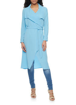 Crepe Long Sleeve Duster Cardigan with Tie Belt - 1414062709854