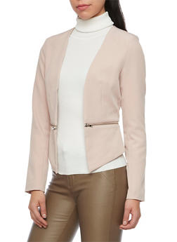 Blazer with Zipper Panel - ROSE - 1414068190187