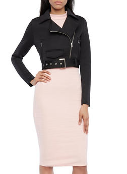 Cropped Moto Scuba Jacket with Faux Pockets - 1414068191585