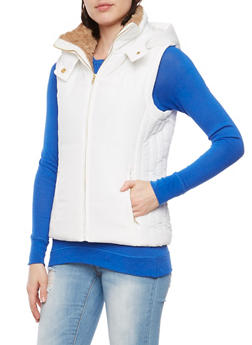 Hooded Vest with Faux Fur Trim - WHITE - 1414068193215
