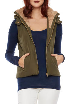 Hooded Vest with Faux Fur Trim - 1414068193215
