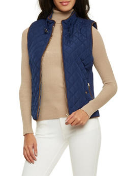Quilted Vest with Faux Suede Trim - 1414068197481