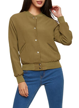 Crepe Knit Bomber Jacket - 1414068198021