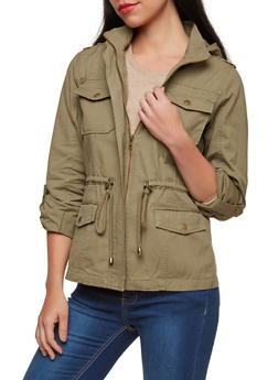 Twill Hooded Anorak Jacket - 1414068198153