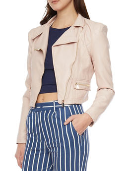 Faux Leather Cropped Moto Zip Jacket - ROSE - 1414068198178