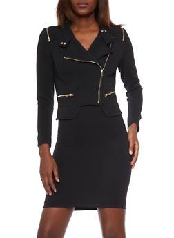 Textured Knit Asymmetrical Zip Jacket - 1414068198313