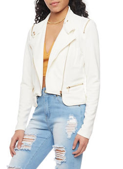Textured Knit Asymmetrical Zip Jacket - WHITE - 1414068198313
