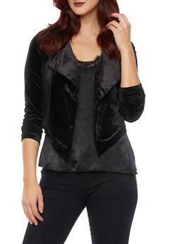 Velvet Blazer with Draped Lapels - BLACK - 1414068198373