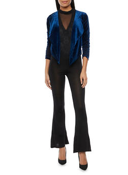 Velvet Blazer with Draped Lapels - NAVY - 1414068198373