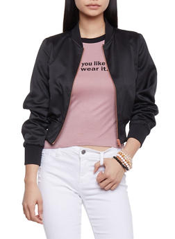 Satin Bomber Jacket - BLACK - 1414068198435