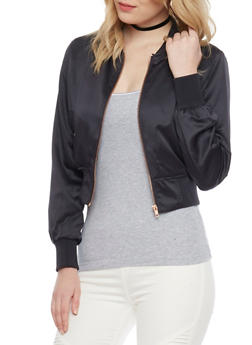 Satin Bomber Jacket - CHARCOAL - 1414068198435