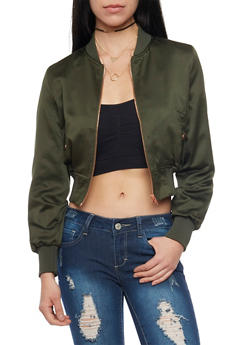 Satin Bomber Jacket - 1414068198435