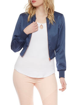 Satin Bomber Jacket - NAVY - 1414068198435