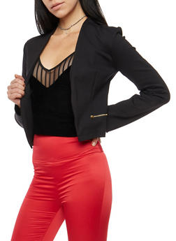 Blazer with Asymmetrical Zip Mesh Back Detail - BLACK - 1414068198593