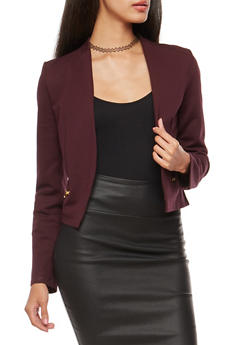Blazer with Asymmetrical Zip Mesh Back Detail - GRAPE - 1414068198593
