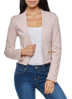 Blazer with Asymmetrical Zip Mesh Back Detail - ROSE - 1414068198593