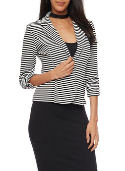 Striped Blazer with Ruched Sleeves - BLACK/WHITE - 1414068513563