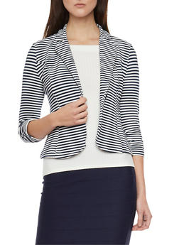 Striped Blazer with Ruched Sleeves - 1414068513563