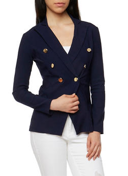 Solid Double Breasted Long Sleeve Blazer - 1414068513564