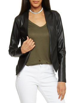 Faux Leather Open Front Blazer - 1414068513585