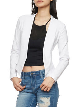 Solid Open Front Blazer - WHITE - 1414068513586