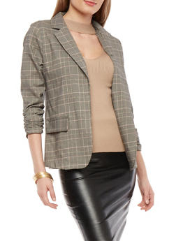 Plaid Ruched Sleeve Blazer with Glitter Trim - 1414068513689