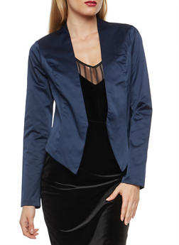 Satin Blazer with Cropped Asymmetrical Hem - NAVY - 1414068515850