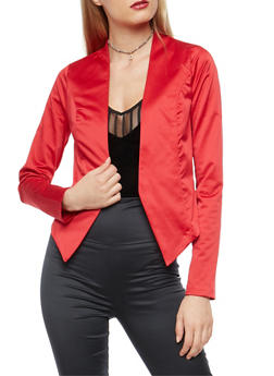 Satin Blazer with Cropped Asymmetrical Hem - RED - 1414068515850