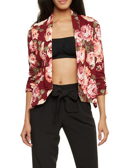 Floral Print Blazer with Draped Lapels - WINE - 1414068517352