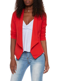 Blazer with Draped Lapels - RED - 1414069390069