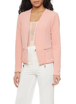 Solid Textured Knit Open Front Blazer - 1414069390086