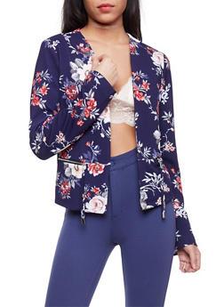 Floral Textuered Knit Blazer - 1414069390186