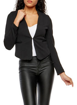 Textured Knit Blazer - BLACK - 1414069390472